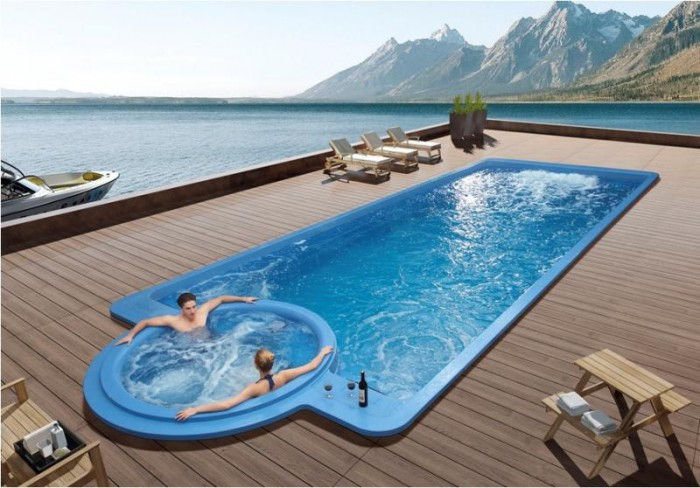 Piscine et spa l accord parfait for Piscine coque volet integre